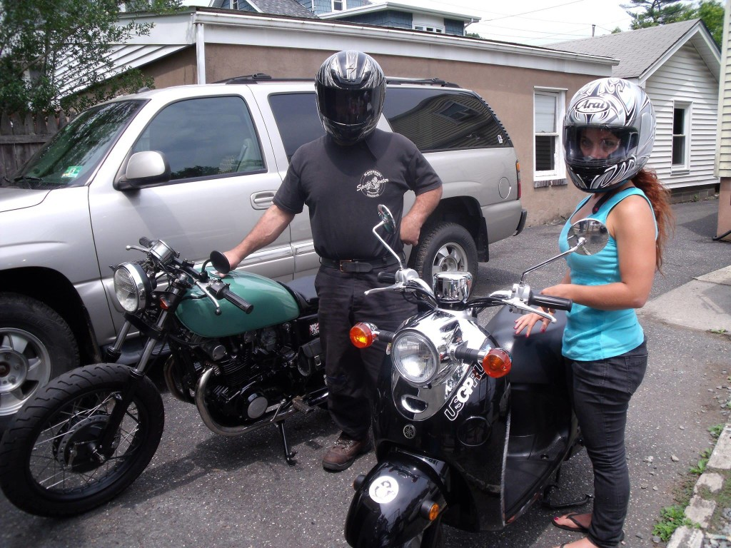 motorcycle girl and her dad